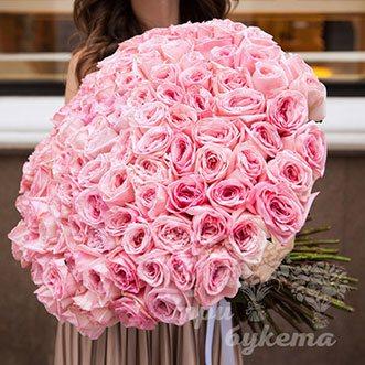 101 розовая роза (Premium) 80 см.