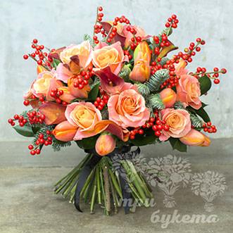 Новогодний букет из 11 оранжевых роз